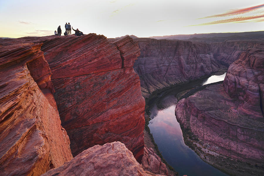 Horseshoe Bend Photograph - People at Horseshoe Bend by Mark Langford