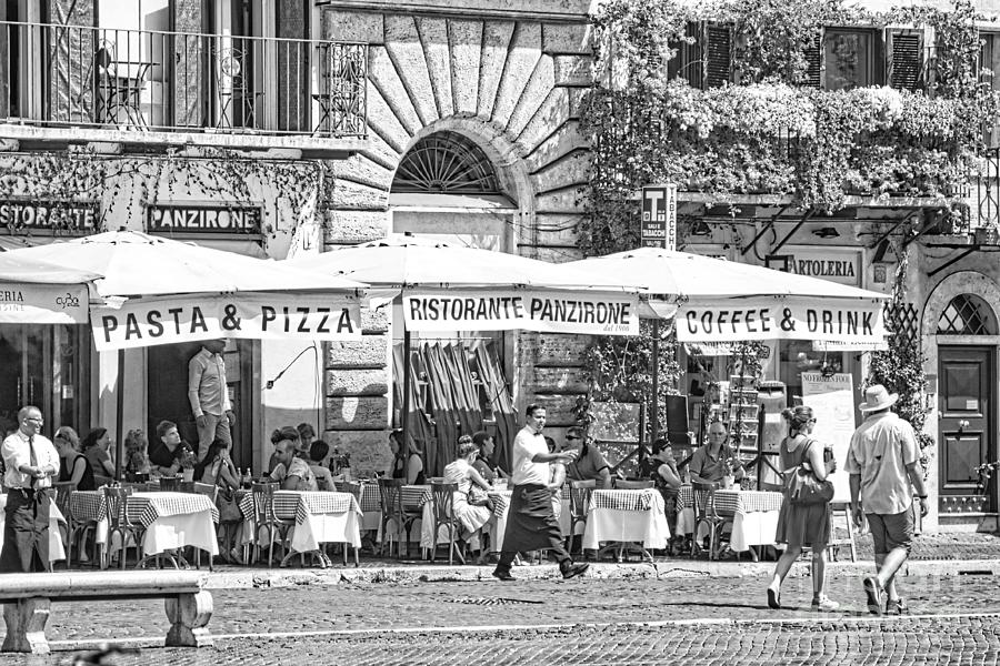 Piazza Navona Photograph - People Dining Outside An Osteria on the Square - Italy  by Stefano Senise
