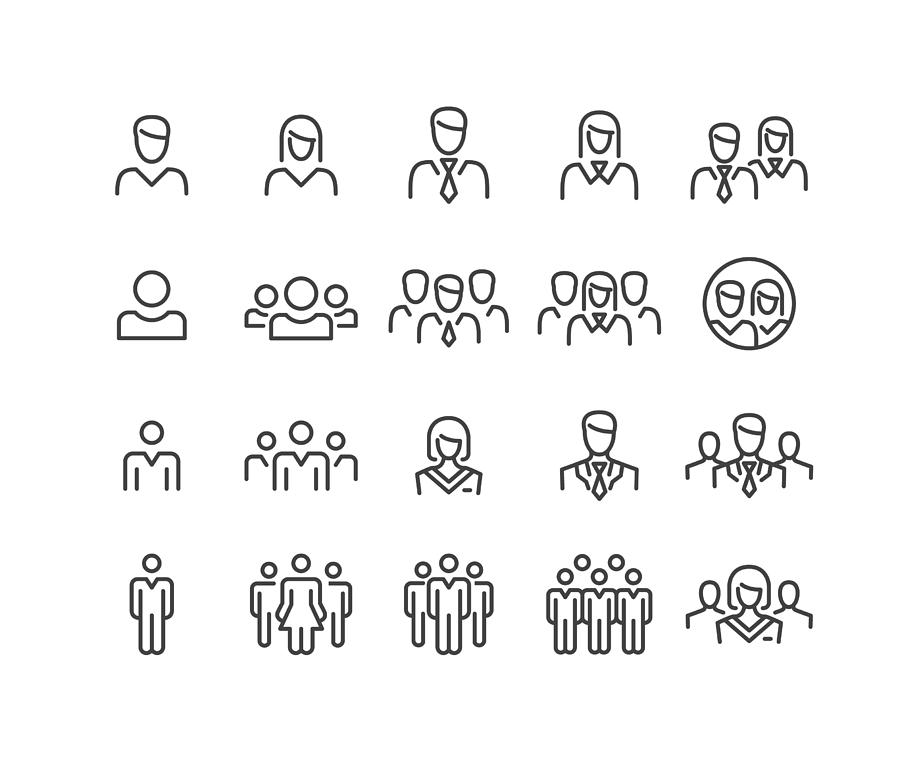 People Icons - Classic Line Series Drawing by -victor-