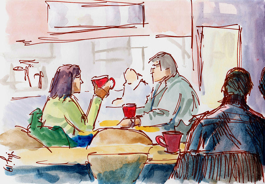People in cafe with red cups sketch by Mike Jory