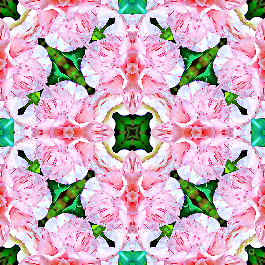 Peppermint Pink and Green Abstract by Tracy Ruckman