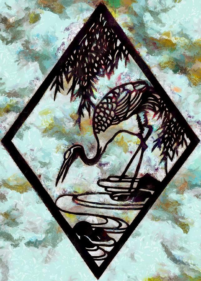 Peppermint Stork Digital Art