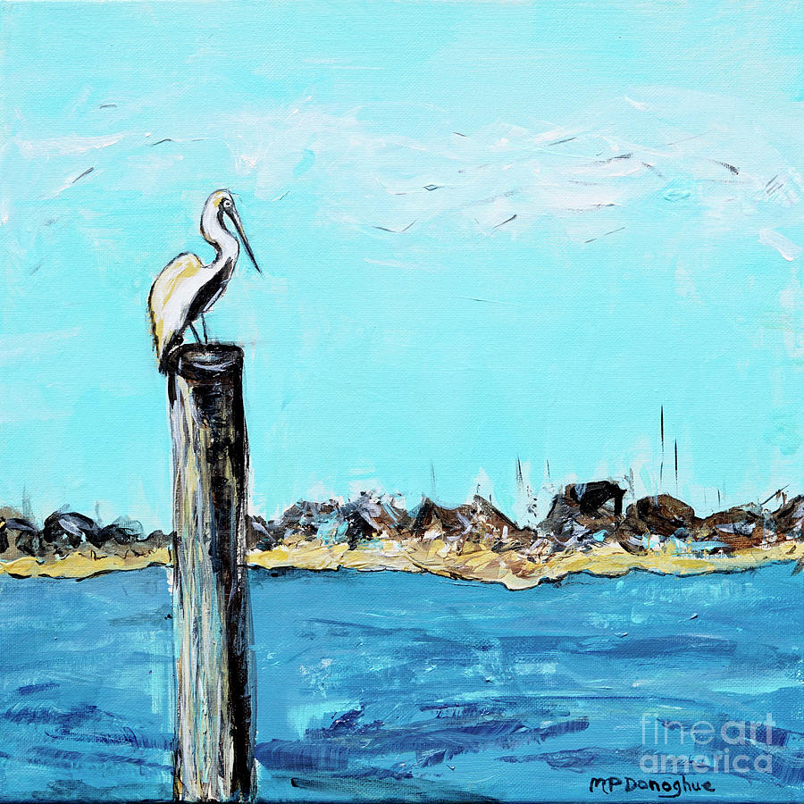 Perched Pelican Painting