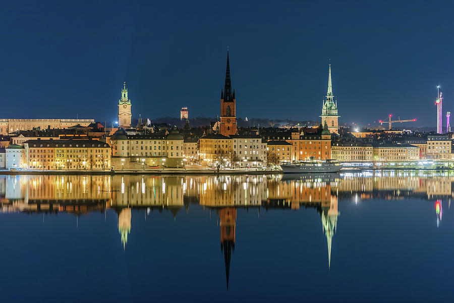 Stockholm Photograph - Perfect Gamla Stan reflection from a distant bridge by Dejan Kostic