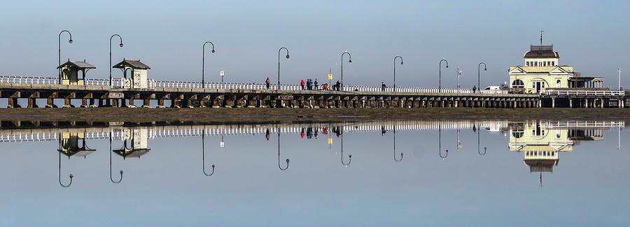 Melbourne Photograph - Perfect Pier Reflections  by Leigh Henningham