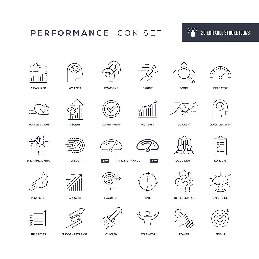 Performance Editable Stroke Line Icons Drawing by Enis Aksoy