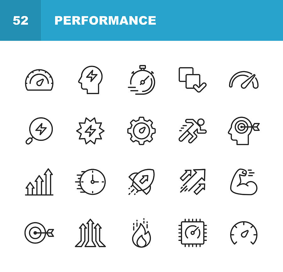 Performance Line Icons. Editable Stroke. Pixel Perfect. For Mobile and Web. Contains such icons as Performance, Growth, Feedback, Running, Speedometer, Authority, Success. Drawing by Rambo182