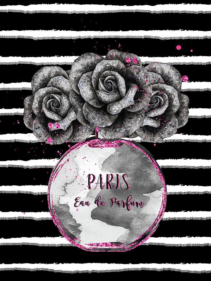 Perfum Bottle With Black Roses On Stripes Digital Art