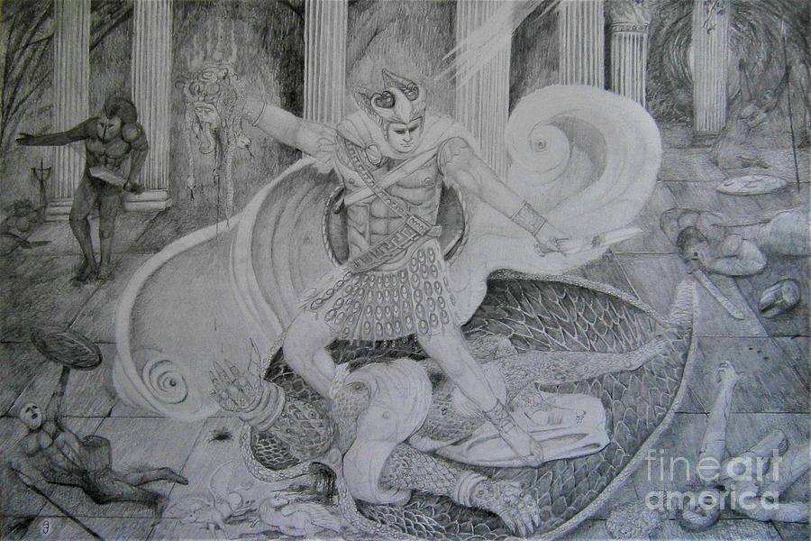 Perseus Slays The Bronze Winged Medusa by Balkishan Jhumat