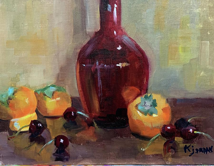 Persimmon Sweetness Painting by Karen Jordan