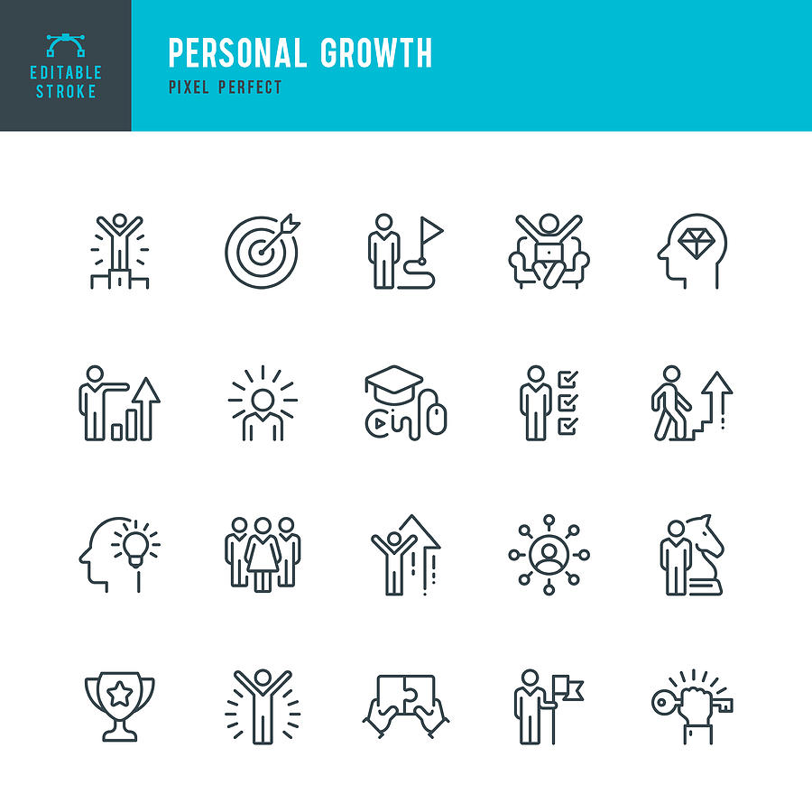 Personal Growth - thin line vector icon set. Pixel perfect. Editable stroke. The set contains icons: Leadership, Learning, Career, Skill, Motivation, Moving Up, Winner, Success, Competition, Ladder of Success. Drawing by Fonikum