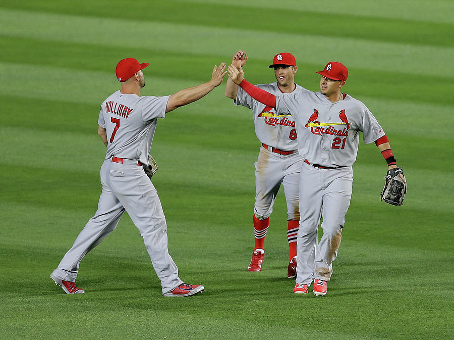 Peter Bourjos, Allen Craig, And Matt Holliday Photograph by Mike Zarrilli
