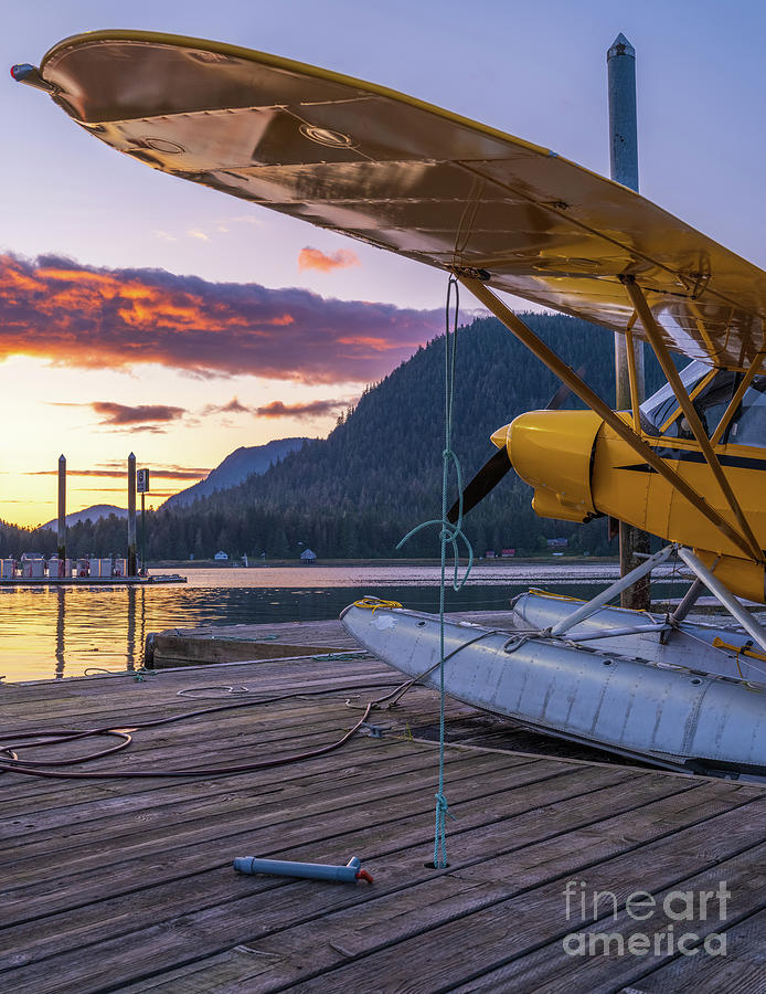 Petersburg Alaska Piper Seaplane Sunset Photograph
