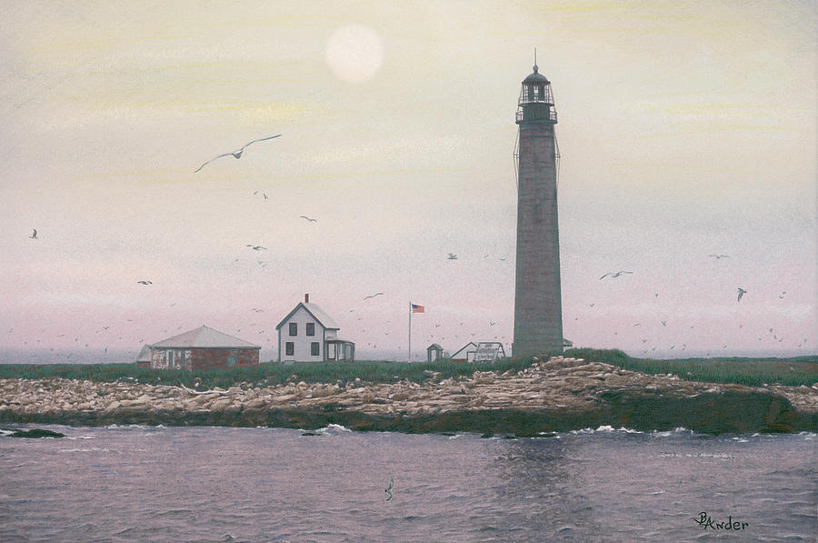 Lighthouse Drawing - Petit Manan Lighthouse by Brent Ander