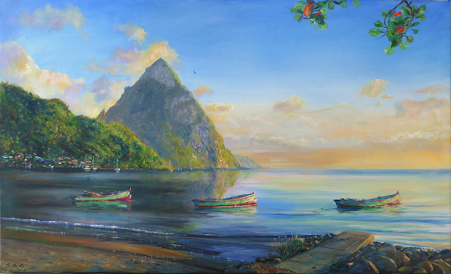 Caribbean Painting - Petit Piton with Three Gommier Boats by Jonathan Gladding