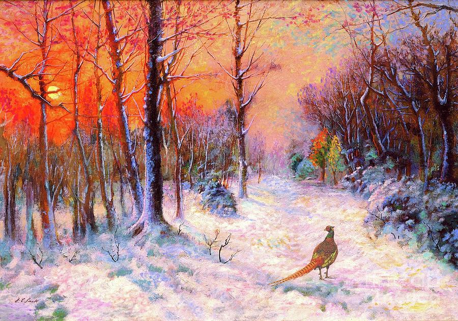 Tree Painting - Pheasant Nightfall by Jane Small