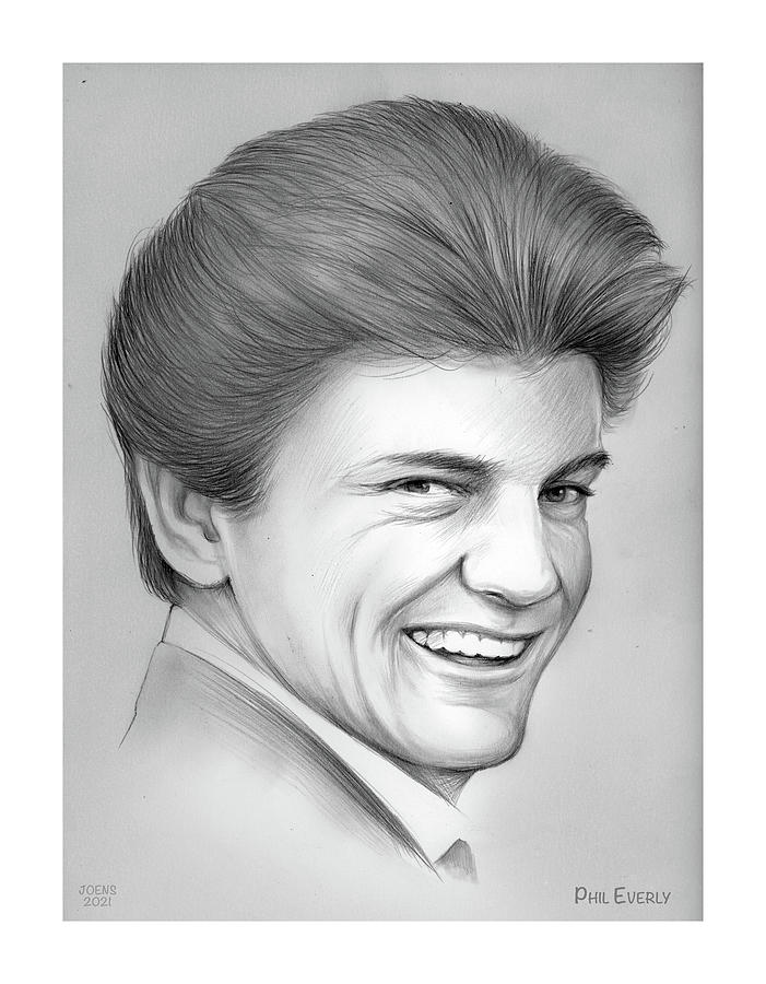 Music Drawing - Phil Everly - Pencil by Greg Joens