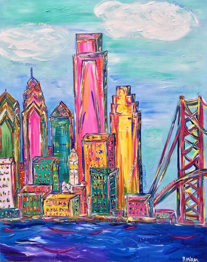 Philly Painting - Philadelphia Skyline Bright Colors by Britt Miller
