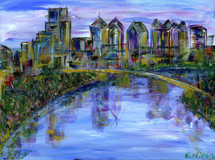 Philly Skyline with River Painting by Britt Miller