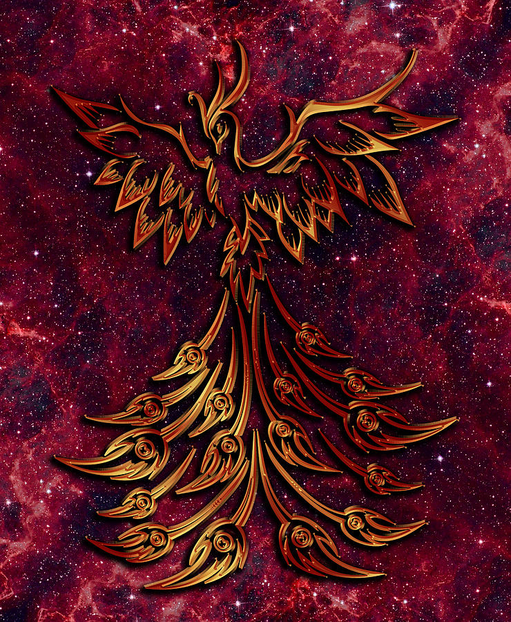 Firebird Digital Art - Phoenix and Fire Nebula by Mary J Winters-Meyer