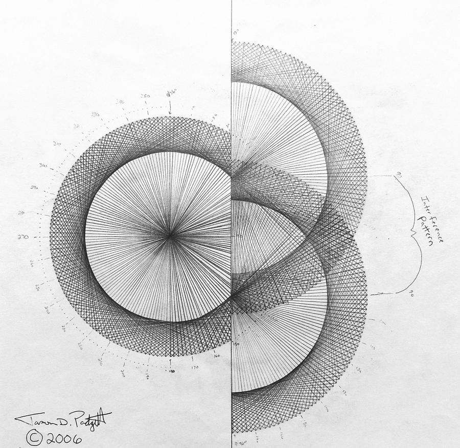 Wave Drawing - Photon Double Slit high res. by Jason Padgett