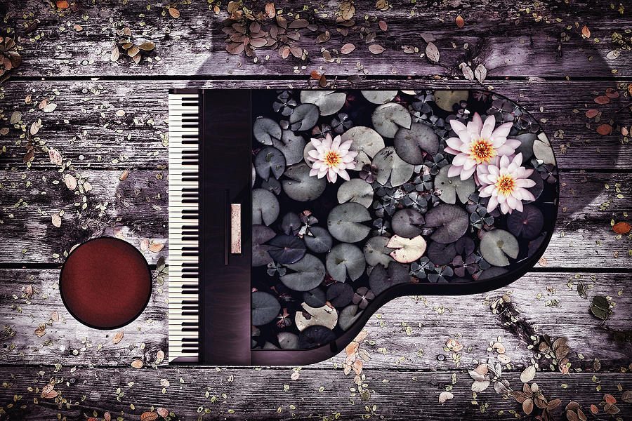 Piano With Water Lilies Digital Art