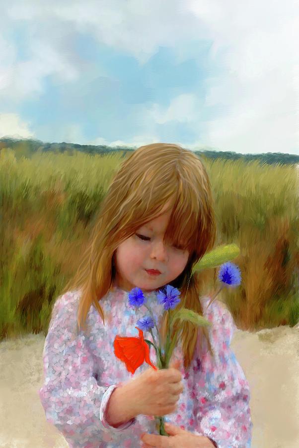 Picking Cornflowers Painting