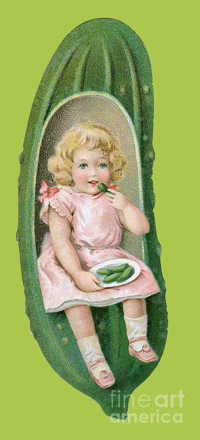 Pickle Advertisement Card With Small Girl Painting