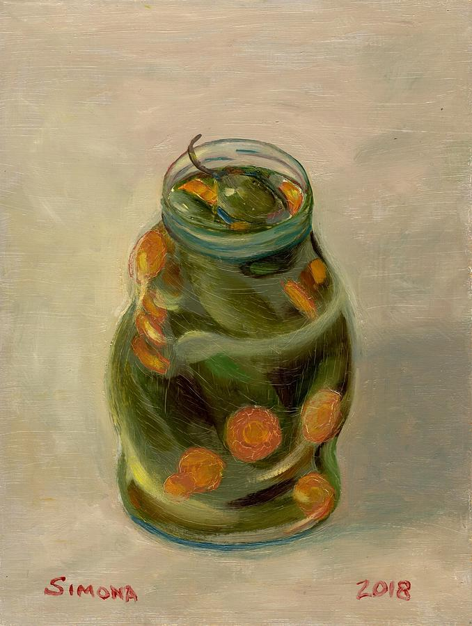 Chile Painting - Pickled Jalepaneos by Simona Hernandez