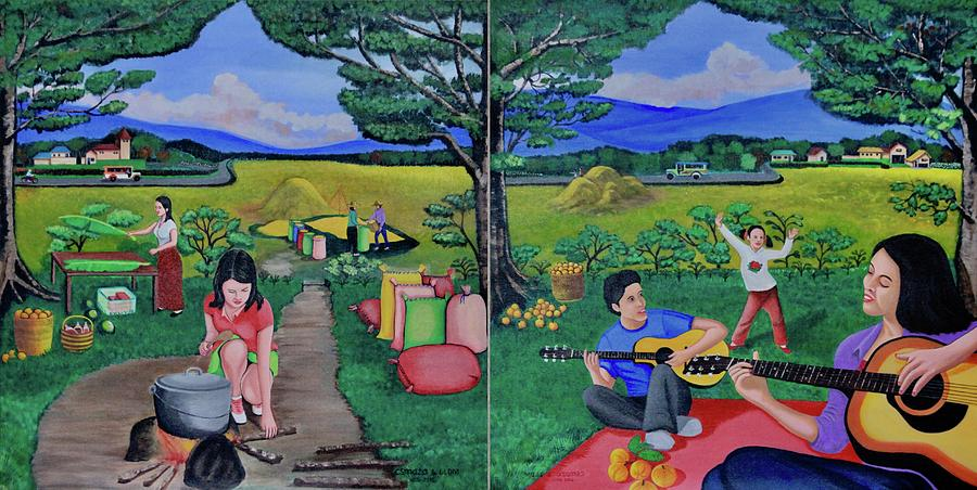 Picnic With The Farmers And Playing Melodies Under The Shade Of Trees Painting