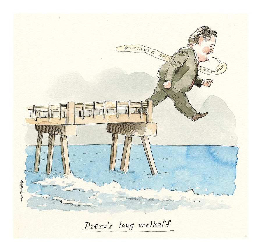 Piers Morgans Dramatic Exit Painting by Barry Blitt