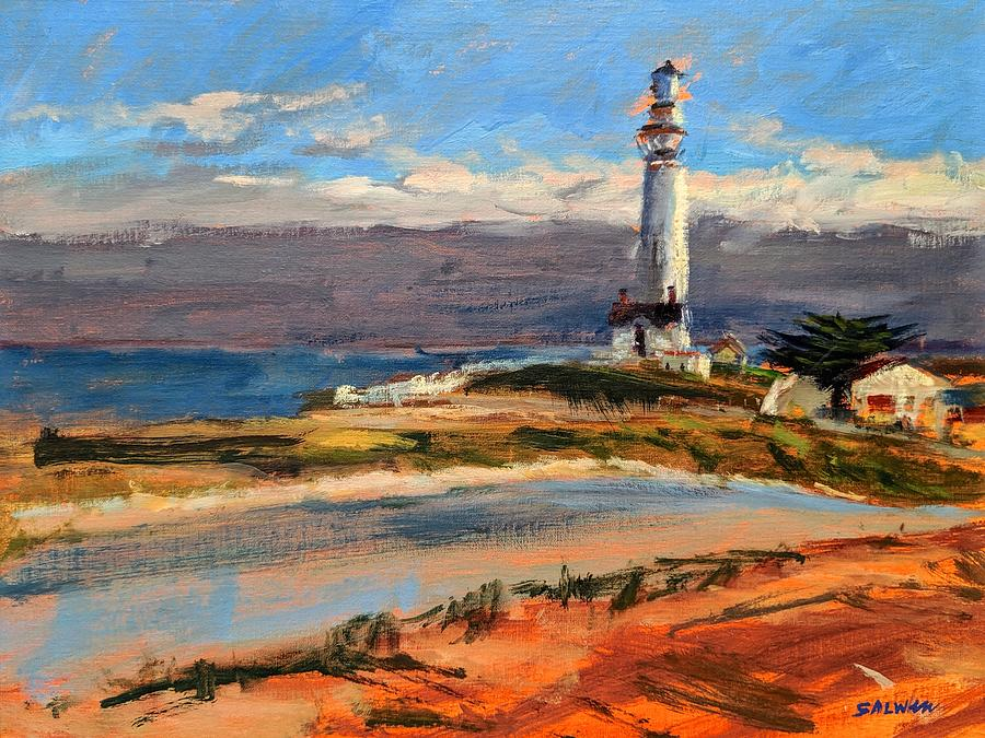 California Painting - Pigeon Point Lighthouse by Peter Salwen