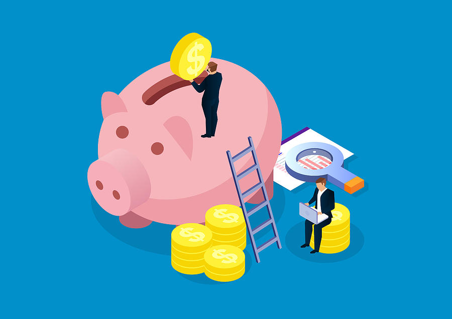 Piggy bank, financial analysis and investment Drawing by Sesame