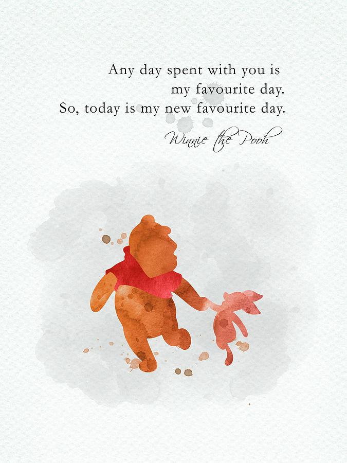 Winnie The Pooh Digital Art - Piglet and Pooh quote watercolor 1 by Mihaela Pater