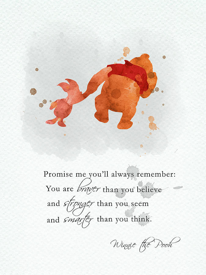 Winnie The Pooh Digital Art - Piglet and Pooh quote watercolor 2 by Mihaela Pater