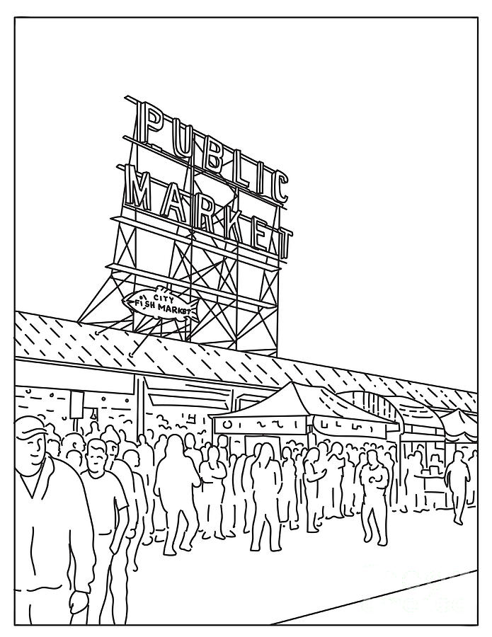 Pike Place Market Digital Art - Pike Place Market a Public Market in Seattle, Washington United States Mono Line or Monoline Black and White Line Art by Aloysius Patrimonio