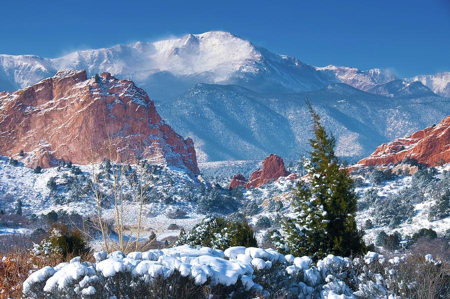 Colorado Photograph - Pikes Peak in Winter by John Hoffman