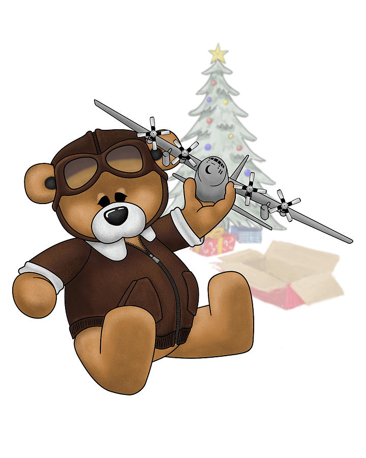 Pilot Bear - Christmas by Michael Brooks
