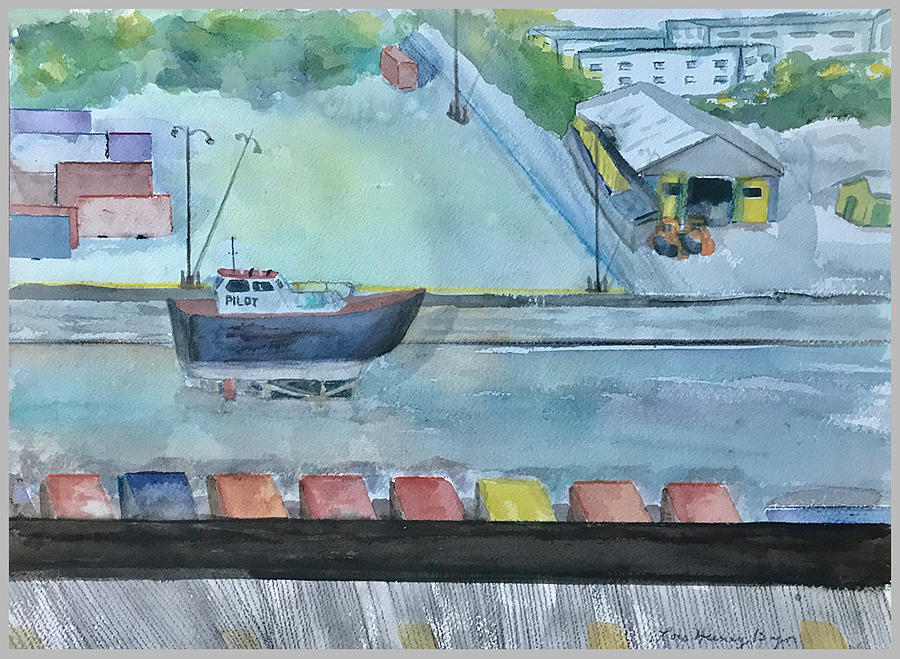 Boats Painting - Pilot Boat In Carribbean Drydock by Lois Bajor
