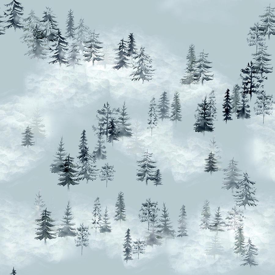 Pine Cloud Forest Pattern Digital Art