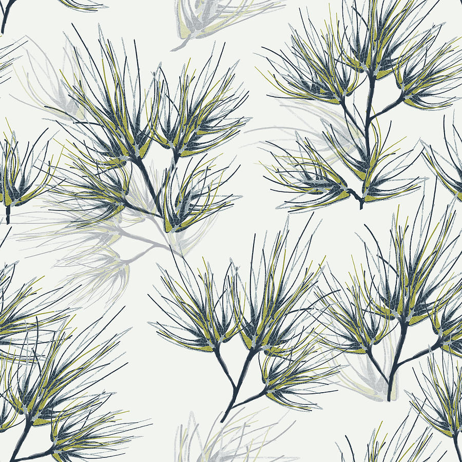 Pine Digital Art - Pine Needles Pattern Cream by Sand And Chi