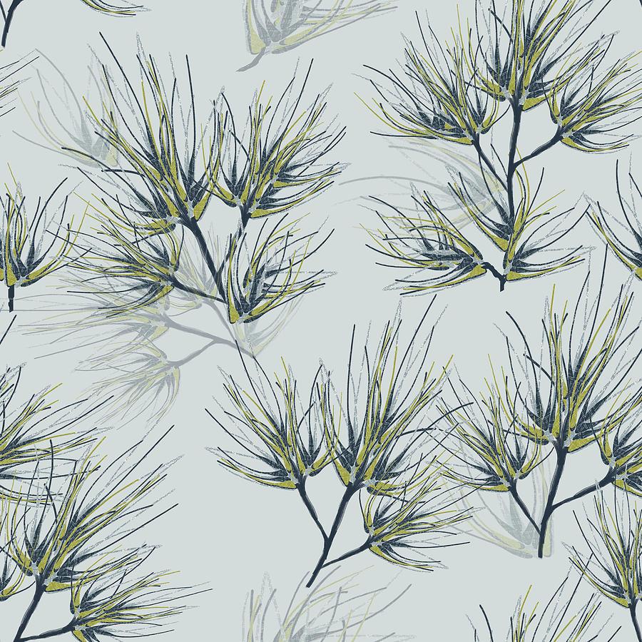 Pine Needles Pattern Muted Blue Digital Art