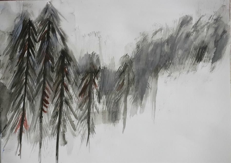 Pine Painting - Pine trees in snow by Nilu Mishra