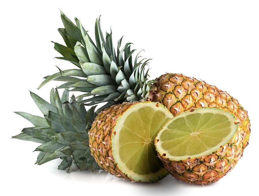 Pineapple And Lime Fruit Surreal Digital Art