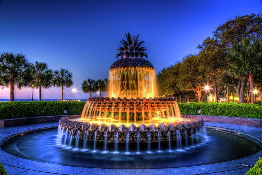 Pineapple Fountain Sunrise 2 Waterfront Park Landscape Charleston South Carolina Art by Reid Callaway