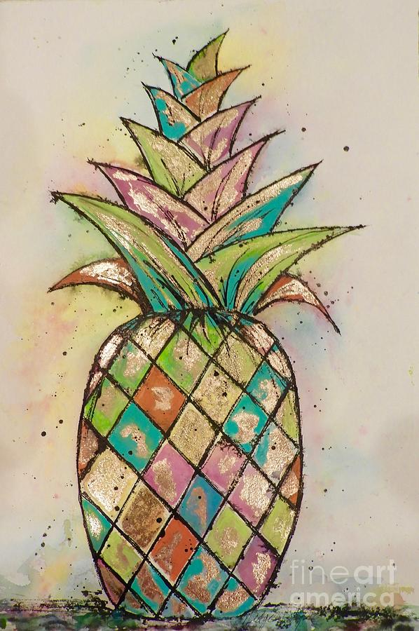 Pineapple Painting - Pineapple Gold by Midge Pippel