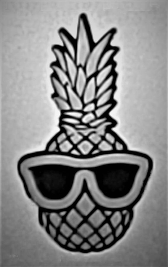 PINEAPPLE WITH SUNGLASSES B W by Rob Hans
