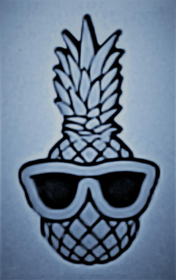 PINEAPPLE WITH SUNGLASSES CYAN by Rob Hans
