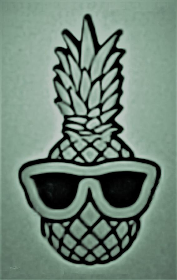 PINEAPPLE WITH SUNGLASSES GREEN by Rob Hans