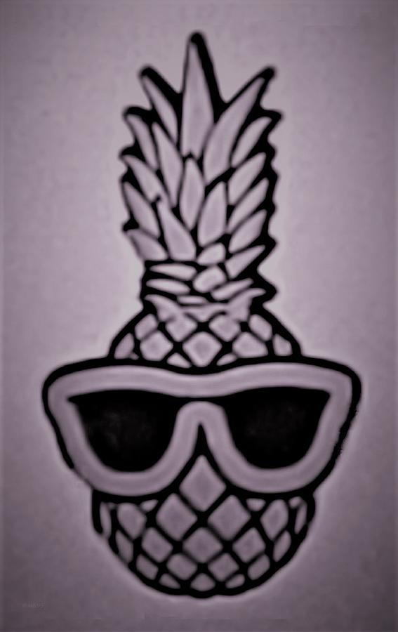 PINEAPPLE WITH SUNGLASSES PURPLE by Rob Hans